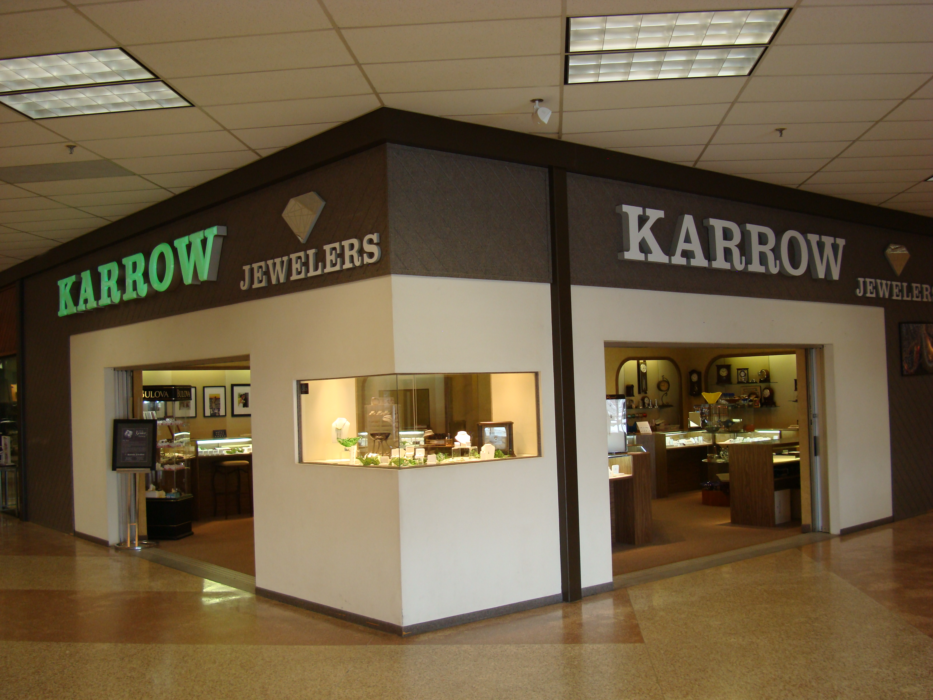 Karrow Jewelers exterior Viking Plaza Mall location